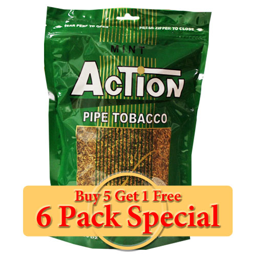 Action Mint Pipe Tobacco 16oz *Six Pack* Special