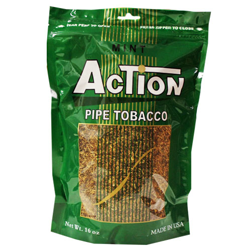 Action Mint Pipe Tobacco 16oz Green Bag