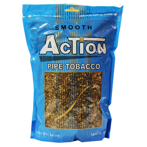 Action Smooth Pipe Tobacco 16oz Blue Bag