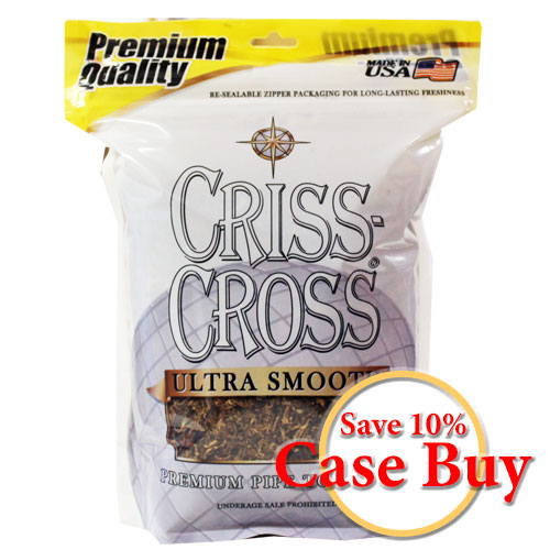 Criss Cross Ultra Smooth Pipe Tobacco 16oz Silver Bag -12ct Case