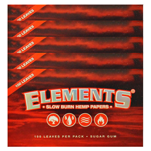 Elements Single Wide Slow Burn Hemp Rolling Papers 5 Pack