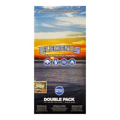 Elements Single Wide Ultra Thin Rice Rolling Papers 25ct Box