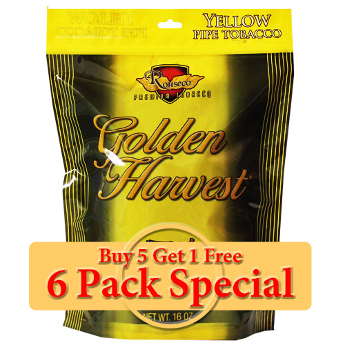Golden Harvest Yellow Pipe Tobacco 16oz *Six Pack* Special