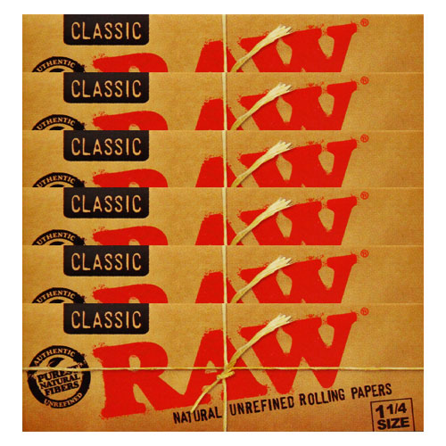 RAW 1 1/4 Size Classic Natural Rolling Papers 6 Pack