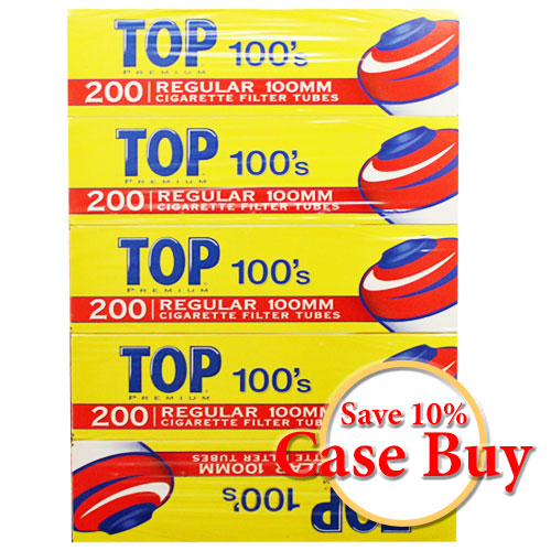 Top Regular 100mm Filter Tubes 200ct Box - 50ct Case