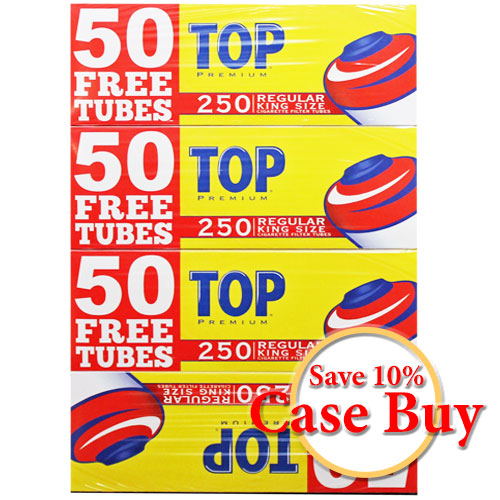 Top Regular King Size Filter Tubes 250ct - 40ct Case