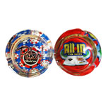 Small Round Glass Flashing Poker Ashtray